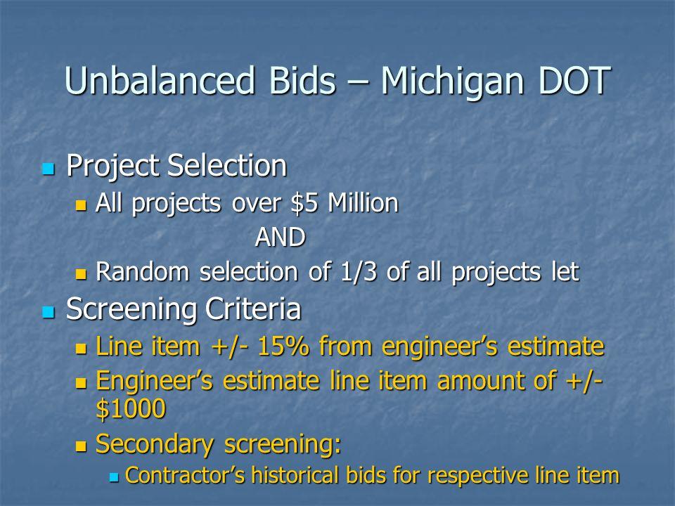 Unbalanced Bids – Michigan DOT Project Selection Project Selection All projects over $5 Million All projects over $5 Million AND AND Random selection