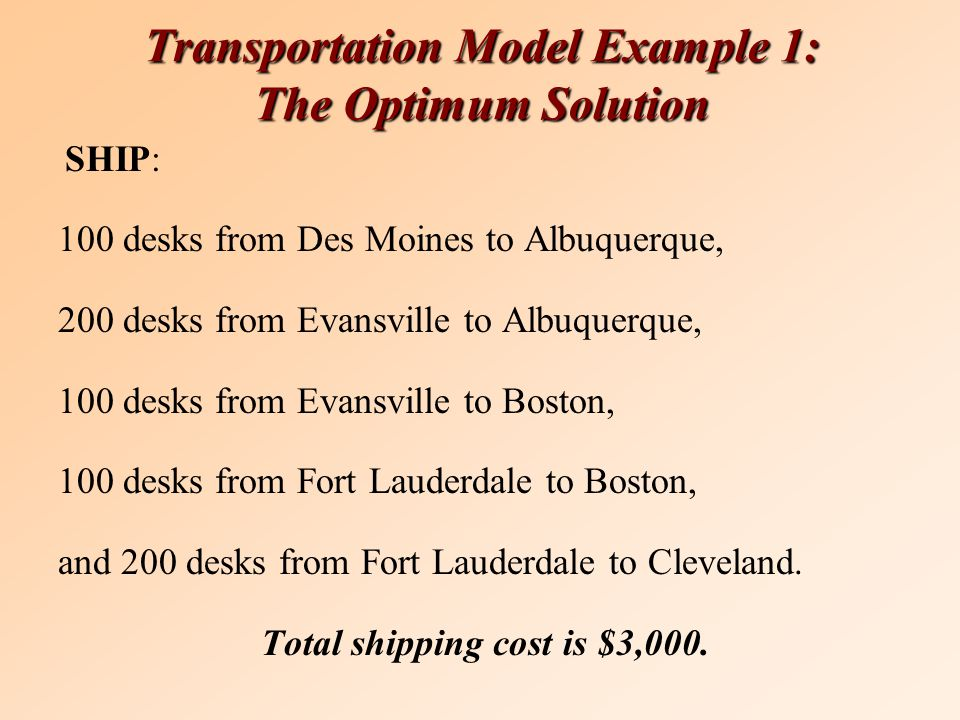 Transportation Model Example 1: The Optimum Solution SHIP: 100 desks from Des Moines to Albuquerque, 200 desks from Evansville to Albuquerque, 100 desks from Evansville to Boston, 100 desks from Fort Lauderdale to Boston, and 200 desks from Fort Lauderdale to Cleveland.
