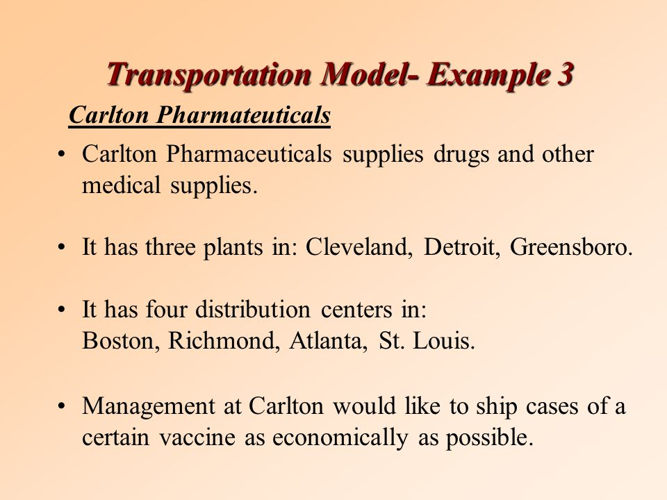 Transportation Model- Example 3 Carlton Pharmaceuticals supplies drugs and other medical supplies.
