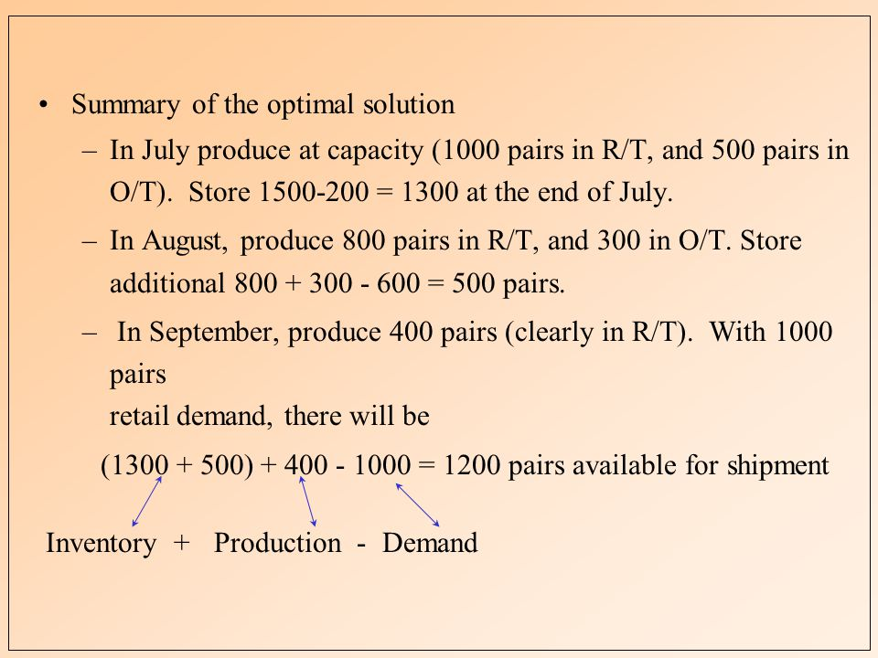 Summary of the optimal solution –In July produce at capacity (1000 pairs in R/T, and 500 pairs in O/T).