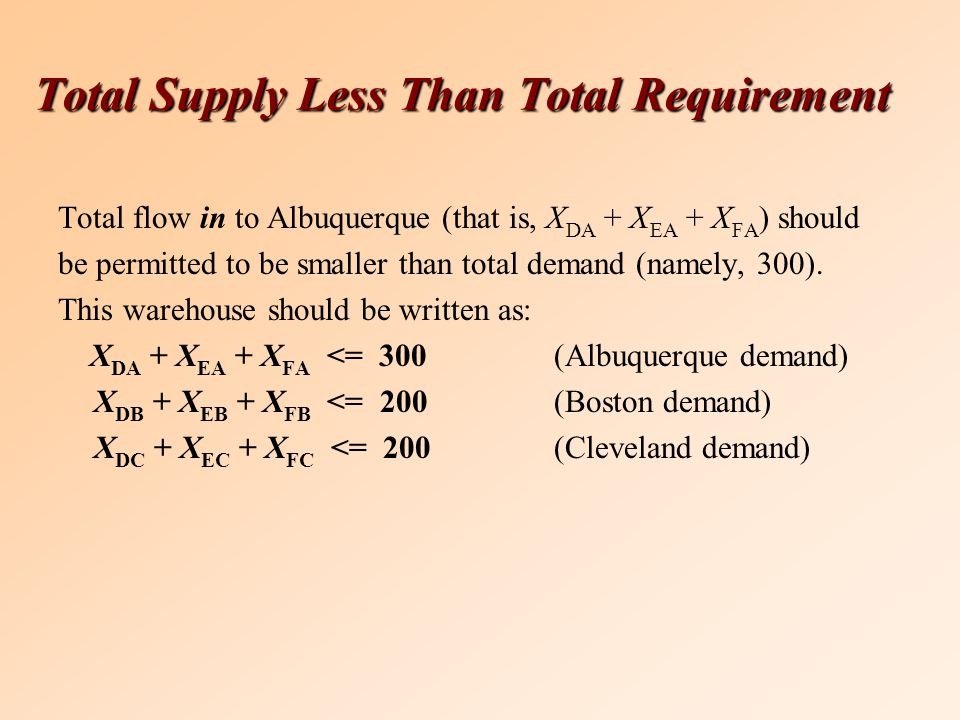Total Supply Less Than Total Requirement Total flow in to Albuquerque (that is, X DA + X EA + X FA ) should be permitted to be smaller than total demand (namely, 300).