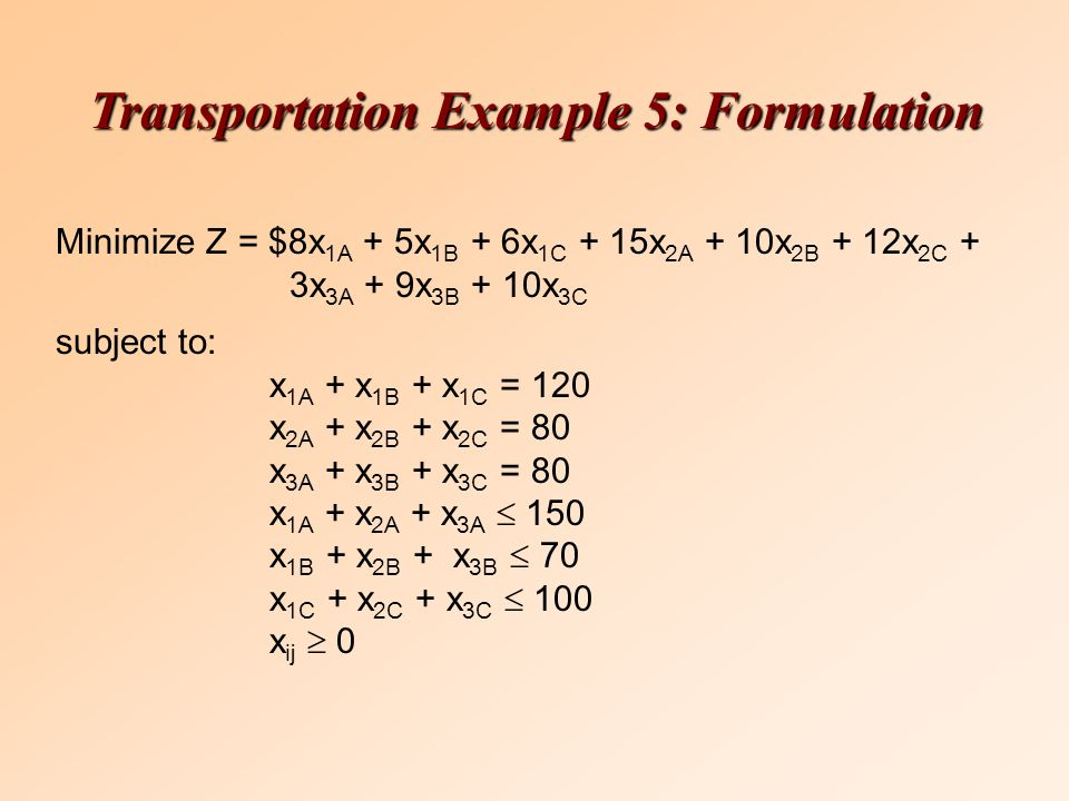 Minimize Z = $8x 1A + 5x 1B + 6x 1C + 15x 2A + 10x 2B + 12x 2C + 3x 3A + 9x 3B + 10x 3C subject to: x 1A + x 1B + x 1C = 120 x 2A + x 2B + x 2C = 80 x 3A + x 3B + x 3C = 80 x 1A + x 2A + x 3A  150 x 1B + x 2B + x 3B  70 x 1C + x 2C + x 3C  100 x ij  0 Transportation Example 5: Formulation