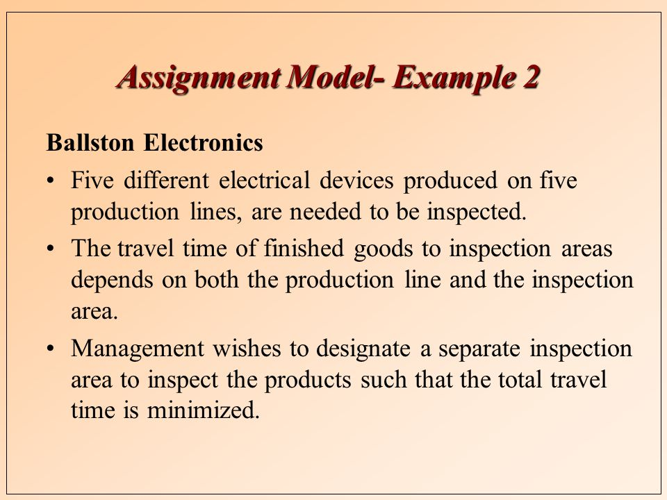 Assignment Model- Example 2 Ballston Electronics Five different electrical devices produced on five production lines, are needed to be inspected.