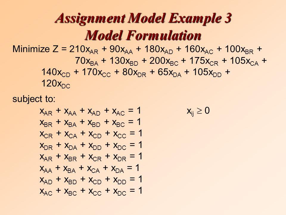 Minimize Z = 210x AR + 90x AA + 180x AD + 160x AC + 100x BR + 70x BA + 130x BD + 200x BC + 175x CR + 105x CA + 140x CD + 170x CC + 80x DR + 65x DA + 1