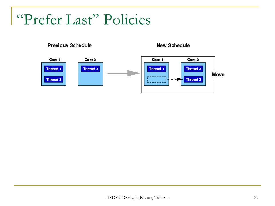 IPDPS: DeVuyst, Kumar, Tullsen 27 Prefer Last Policies