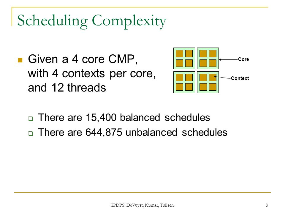 IPDPS: DeVuyst, Kumar, Tullsen 8 Scheduling Complexity Given a 4 core CMP, with 4 contexts per core, and 12 threads  There are 15,400 balanced schedu