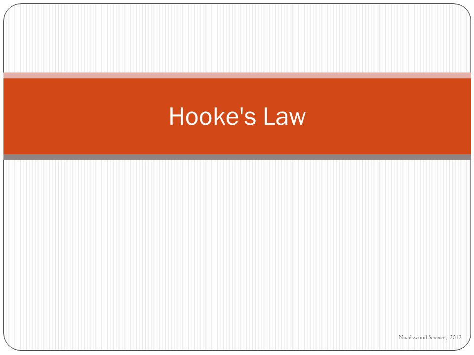 Noadswood Science, 2012 Hooke s Law