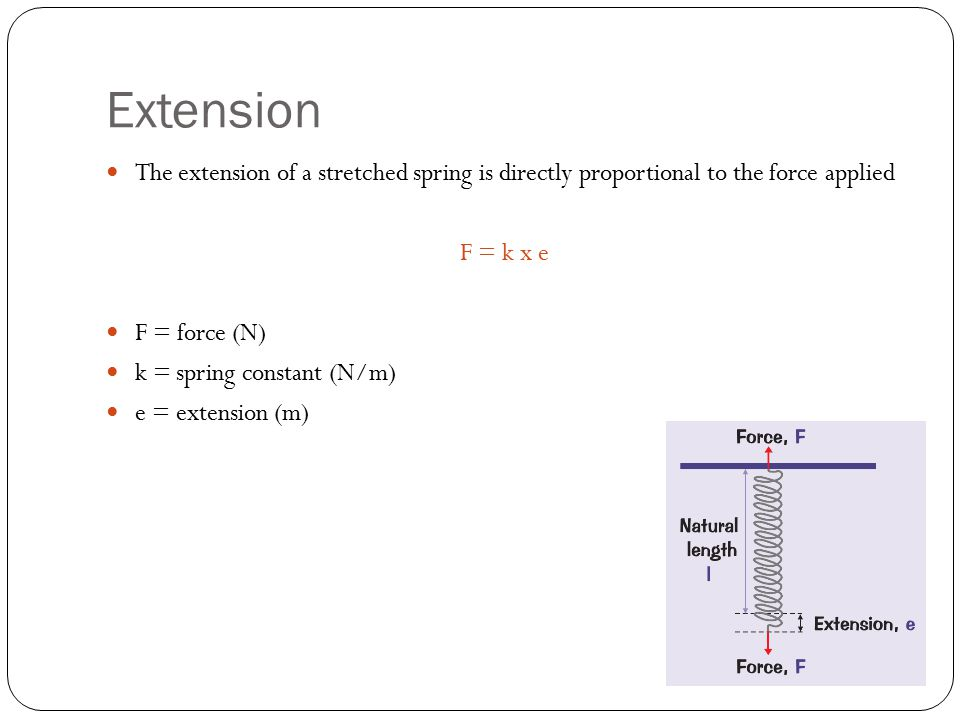 Force Too Great There is a limit to the amount of force that can be applied to an object for the extension to keep increasing proportionally For small forces the force and extension are proportional, however there is a maximum force that elastic objects can take and still extend proportionally – this is the limit of proportionality (point P) If the force is increased past this limit the material becomes permanently stretched