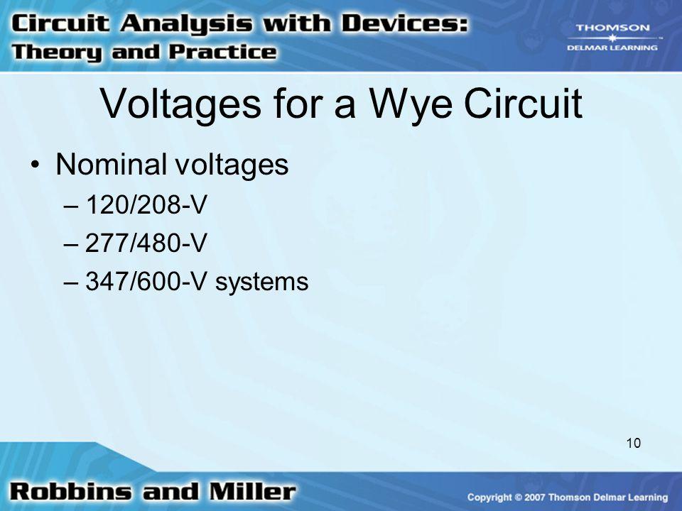 10 Voltages for a Wye Circuit Nominal voltages –120/208-V –277/480-V –347/600-V systems