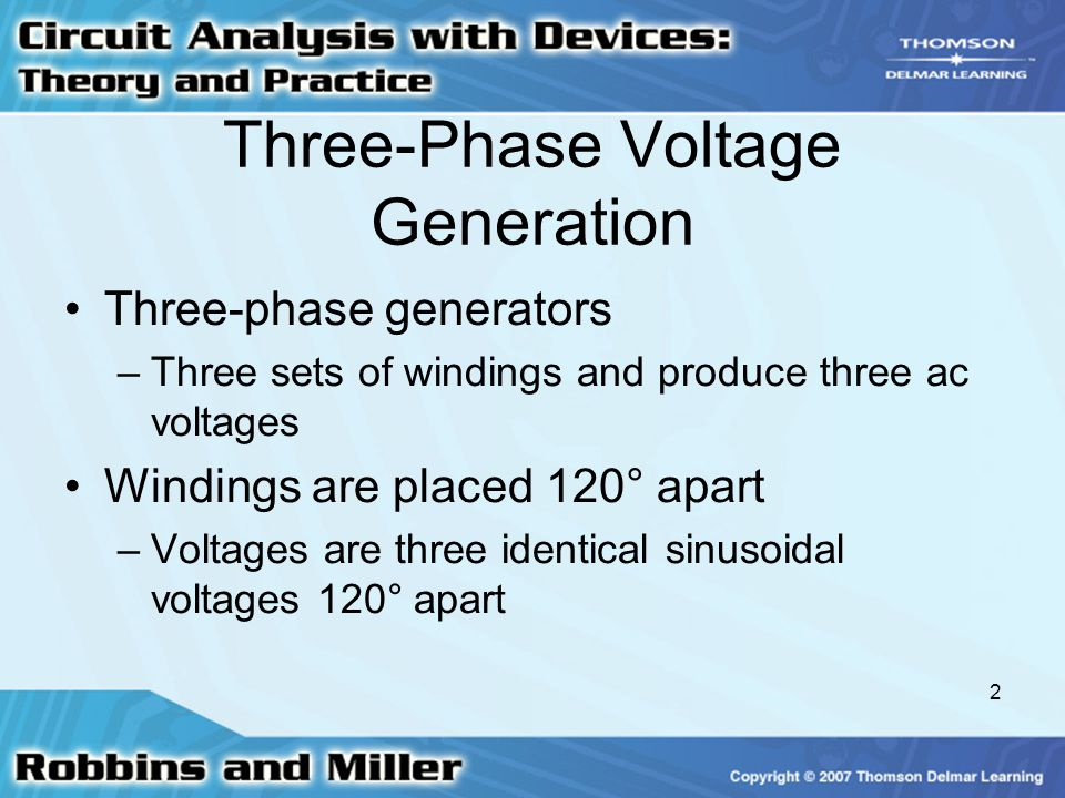 2 Three-Phase Voltage Generation Three-phase generators –Three sets of windings and produce three ac voltages Windings are placed 120° apart –Voltages are three identical sinusoidal voltages 120° apart