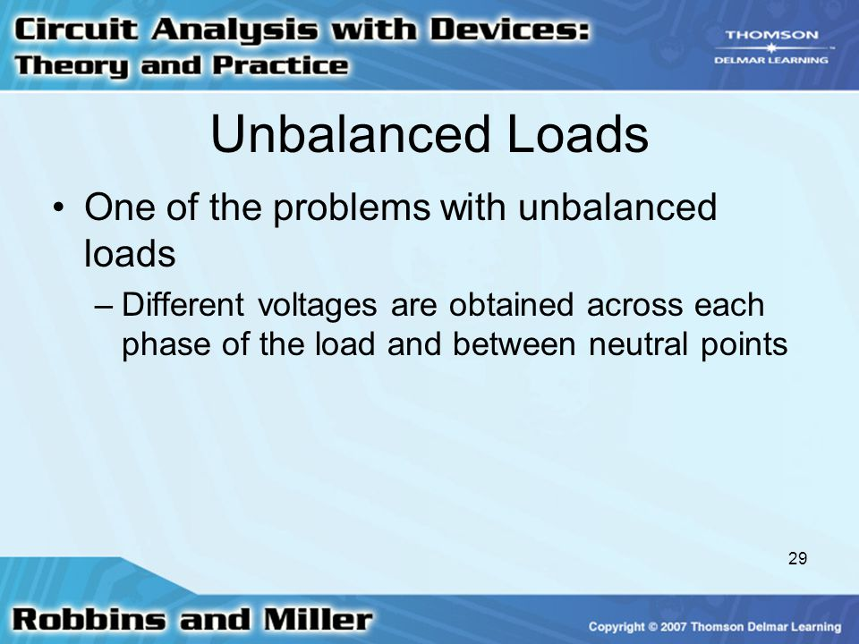 29 Unbalanced Loads One of the problems with unbalanced loads –Different voltages are obtained across each phase of the load and between neutral points