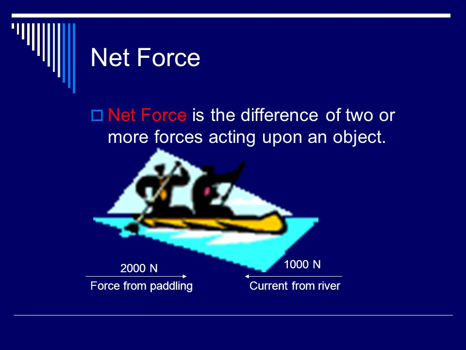 Net Force  Net Force is the difference of two or more forces acting upon an object. Current from riverForce from paddling 2000 N 1000 N