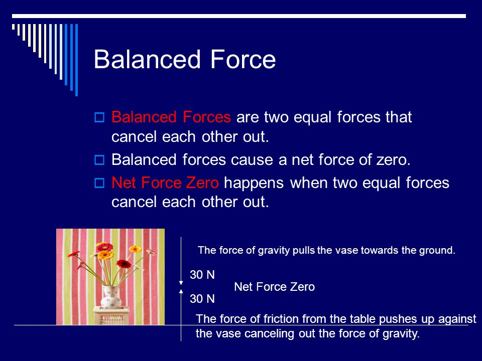 Balanced Force  Balanced Forces are two equal forces that cancel each other out.  Balanced forces cause a net force of zero.  Net Force Zero happen