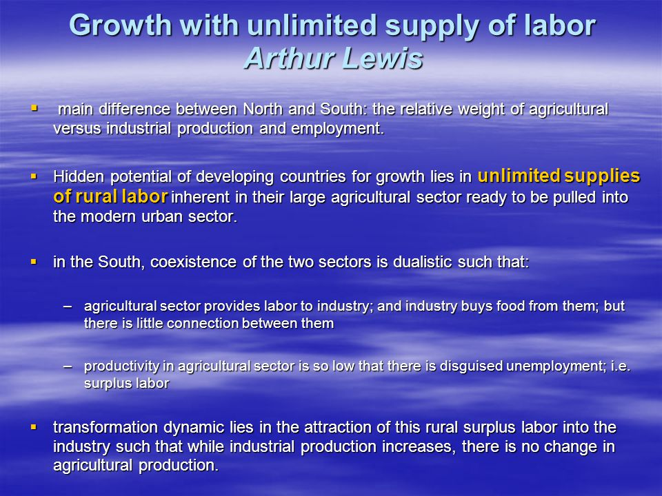 Growth with unlimited supply of labor Arthur Lewis  main difference between North and South: the relative weight of agricultural versus industrial pr