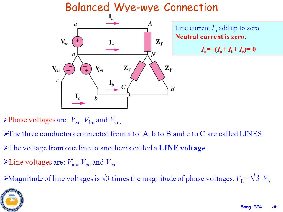 13 Eeng 224 Balanced Wye-wye Connection  Phase voltages are: V an, V bn and V cn.  The three conductors connected from a to A, b to B and c to C are
