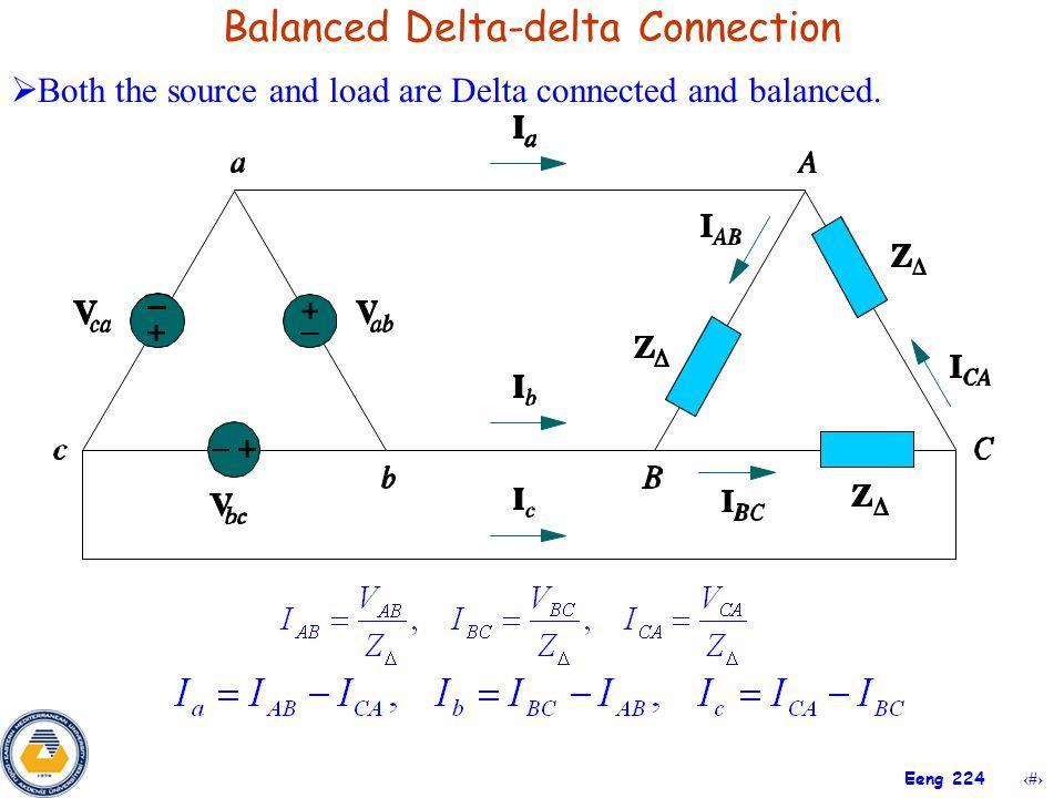 20 Eeng 224 Balanced Delta-delta Connection  Both the source and load are Delta connected and balanced.