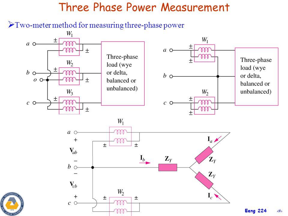 33 Eeng 224 Three Phase Power Measurement  Two-meter method for measuring three-phase power