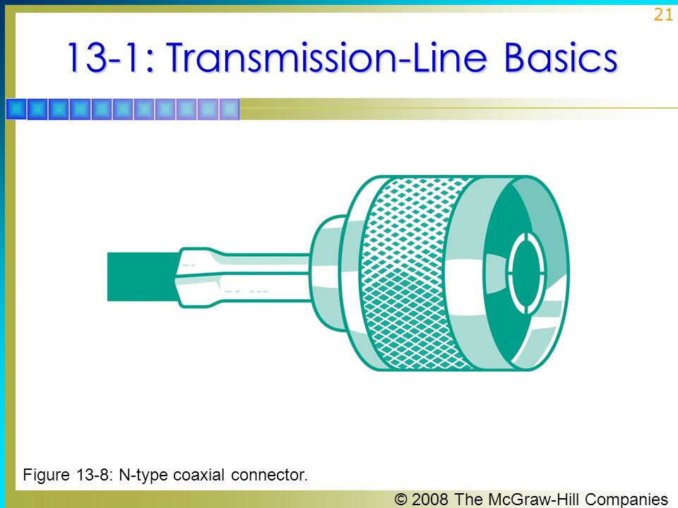 © 2008 The McGraw-Hill Companies 21 13-1: Transmission-Line Basics Figure 13-8: N-type coaxial connector.