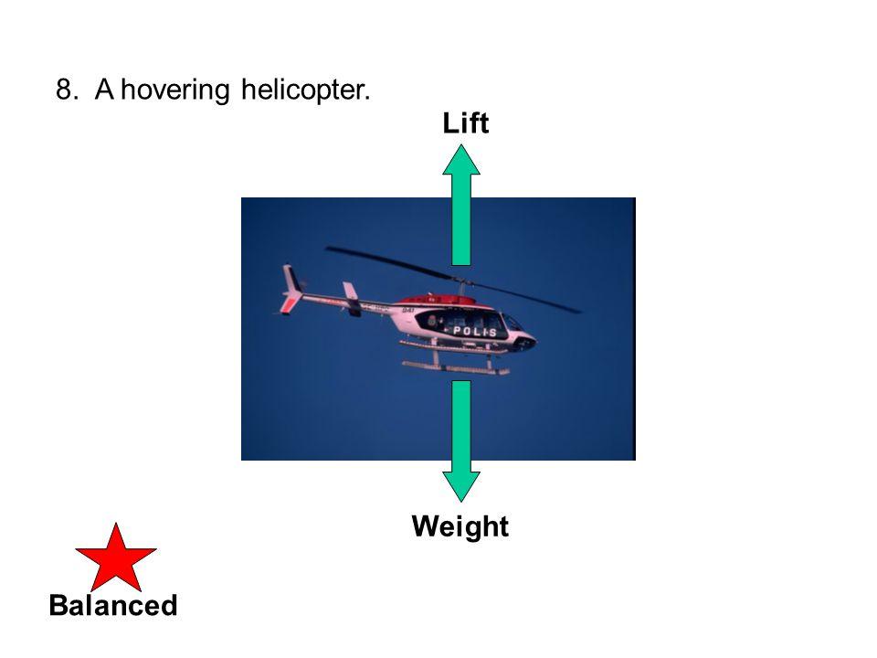 UNbalancedBalanced 9. A helicopter accelerating upward. Weight Lift