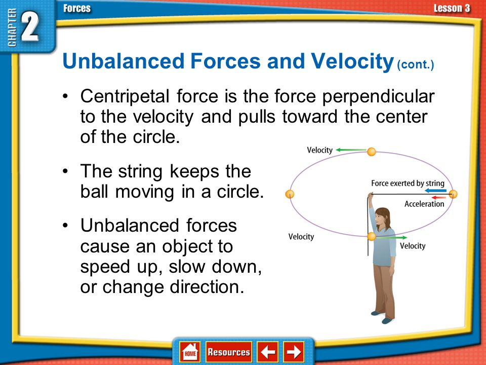 Unbalanced Forces and Velocity (cont.) A ball tied to a string and swung in a horizontal circle has circular motion. The velocity of the ball changes