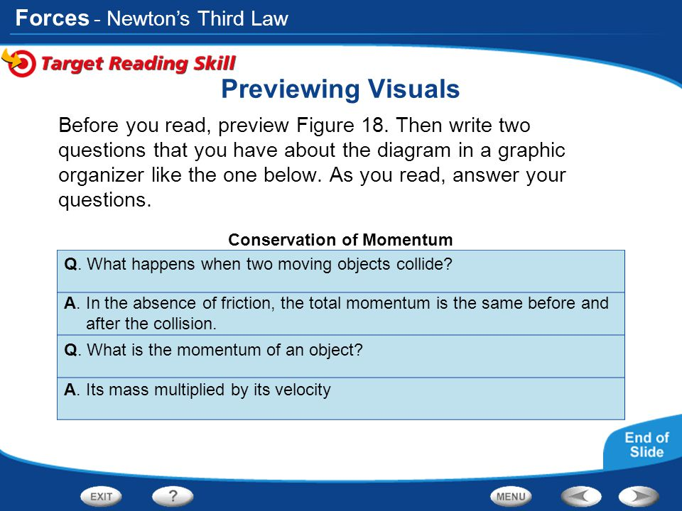 Forces Previewing Visuals Before you read, preview Figure 18. Then write two questions that you have about the diagram in a graphic organizer like the