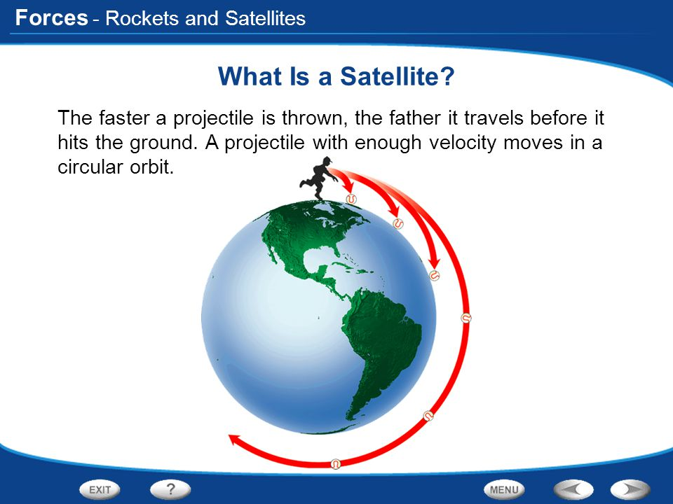 Forces - Rockets and Satellites What Is a Satellite? The faster a projectile is thrown, the father it travels before it hits the ground. A projectile