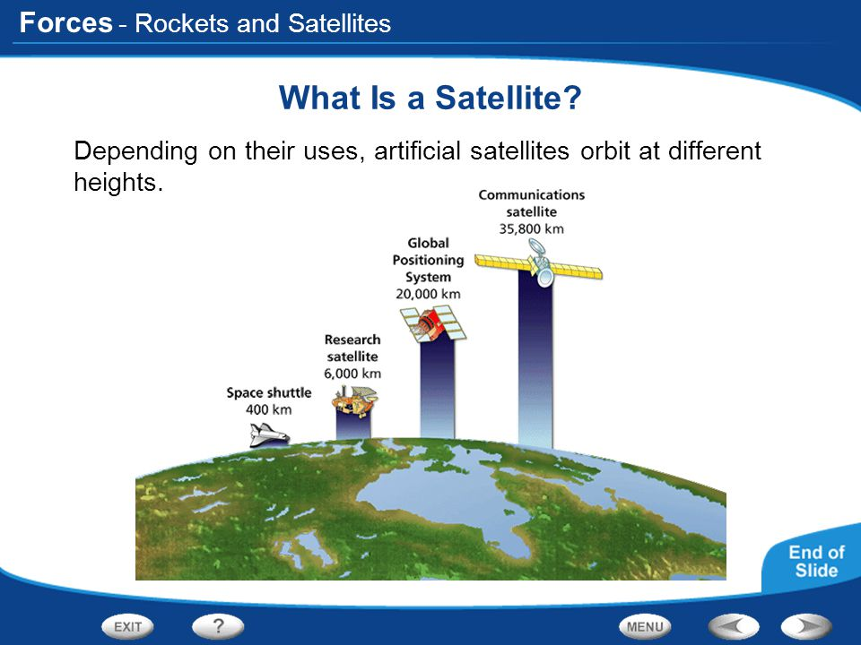 Forces - Rockets and Satellites What Is a Satellite? Depending on their uses, artificial satellites orbit at different heights.