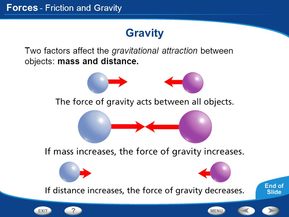 Forces - Friction and Gravity Gravity Two factors affect the gravitational attraction between objects: mass and distance.