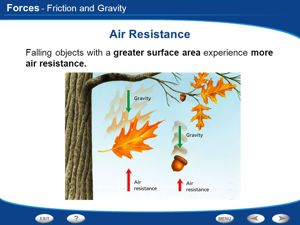 Forces - Friction and Gravity Air Resistance Falling objects with a greater surface area experience more air resistance.