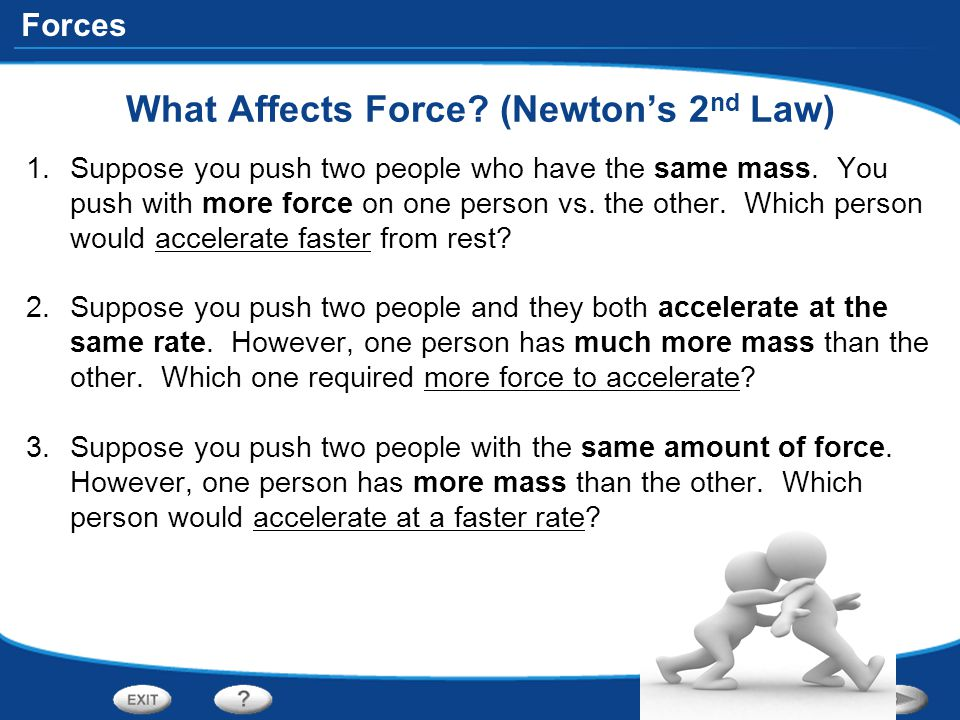 Forces What Affects Force? (Newton's 2 nd Law) 1.Suppose you push two people who have the same mass. You push with more force on one person vs. the ot