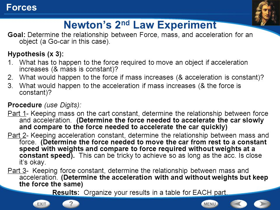 Forces Newton's 2 nd Law Experiment Goal: Determine the relationship between Force, mass, and acceleration for an object (a Go-car in this case). Hypo