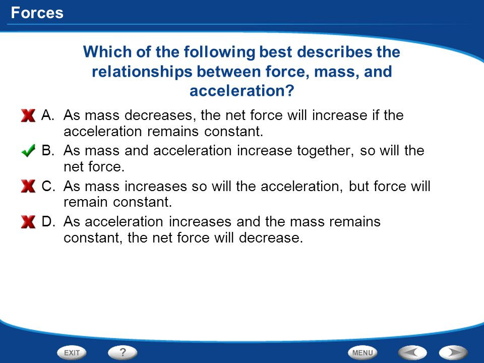 Forces Which of the following best describes the relationships between force, mass, and acceleration? A.As mass decreases, the net force will increase