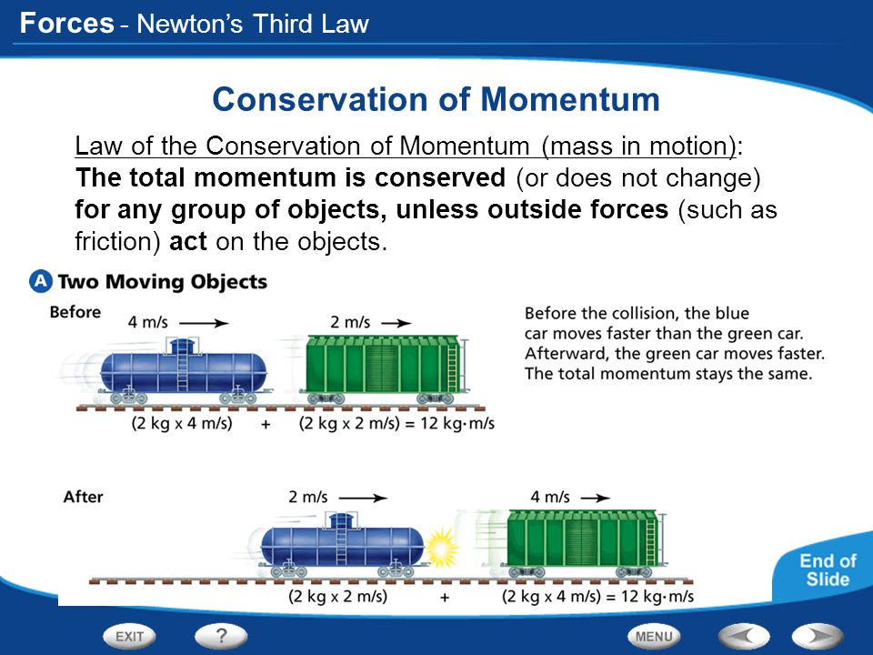 Forces - Conservation of Momentum Law of the Conservation of Momentum (mass in motion): The total momentum is conserved (or does not change) for any g