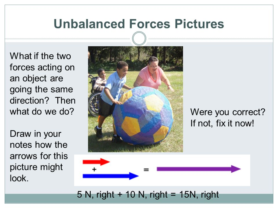 Unbalanced Forces Pictures 5 N, right + 10 N, right =15N, right What if the two forces acting on an object are going the same direction? Then what do