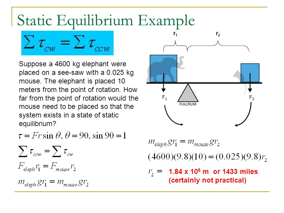 Static Equilibrium Example r1r1 r2r2 Suppose a 4600 kg elephant were placed on a see-saw with a 0.025 kg mouse.