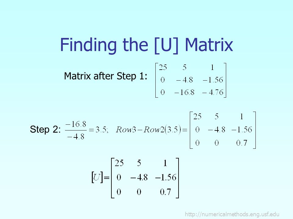 Finding the [U] Matrix Step 2: Matrix after Step 1: