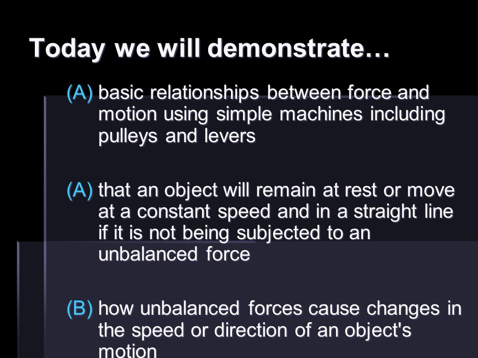 Today we will demonstrate… (A)basic relationships between force and motion using simple machines including pulleys and levers (A)that an object will r