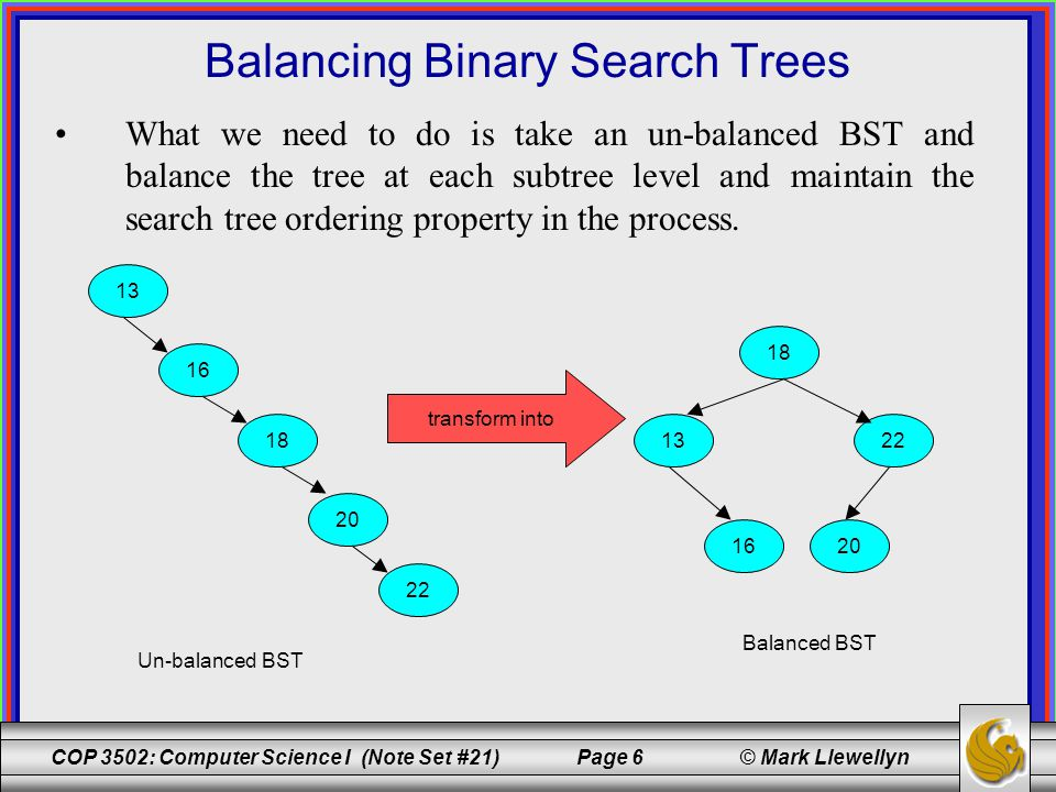 COP 3502: Computer Science I (Note Set #21) Page 6 © Mark Llewellyn What we need to do is take an un-balanced BST and balance the tree at each subtree level and maintain the search tree ordering property in the process.