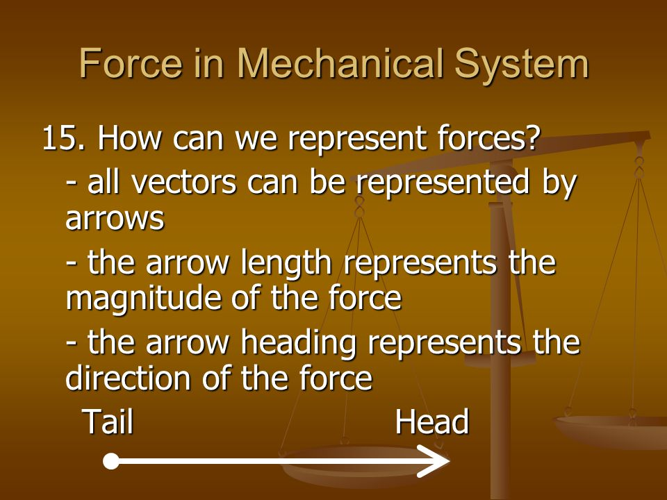 Force in Mechanical System 15. How can we represent forces? - all vectors can be represented by arrows - the arrow length represents the magnitude of