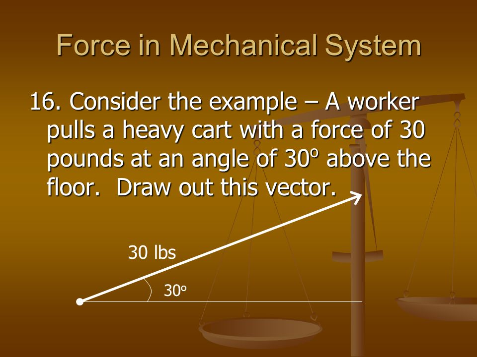 Force in Mechanical System 16. Consider the example – A worker pulls a heavy cart with a force of 30 pounds at an angle of 30 o above the floor. Draw
