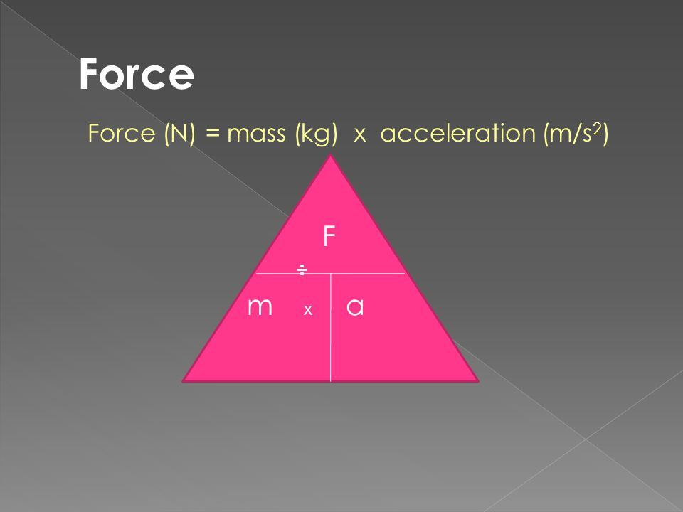 Force (N) = mass (kg) x acceleration (m/s 2 ) F ÷ m x a