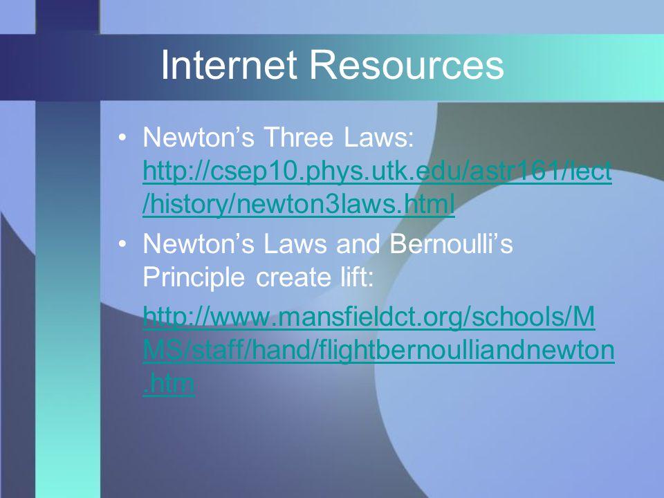 Internet Resources Newton's Three Laws: http://csep10.phys.utk.edu/astr161/lect /history/newton3laws.html http://csep10.phys.utk.edu/astr161/lect /history/newton3laws.html Newton's Laws and Bernoulli's Principle create lift: http://www.mansfieldct.org/schools/M MS/staff/hand/flightbernoulliandnewton.htm