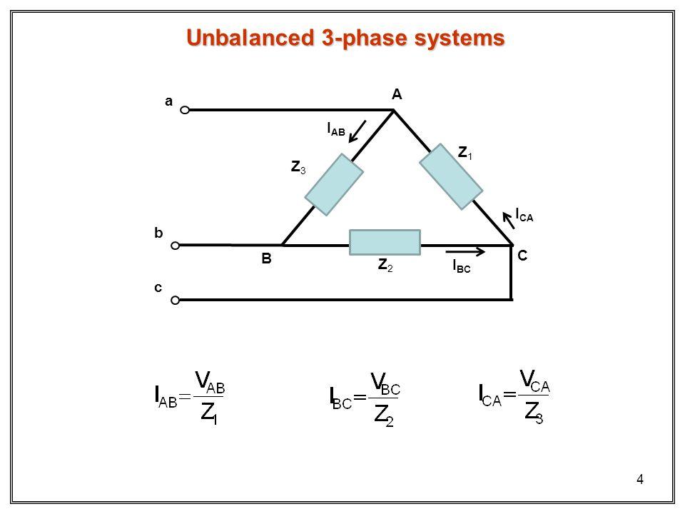 4 Unbalanced 3-phase systems b c a Z2Z2 Z1Z1 Z3Z3 A B C I AB I CA I BC