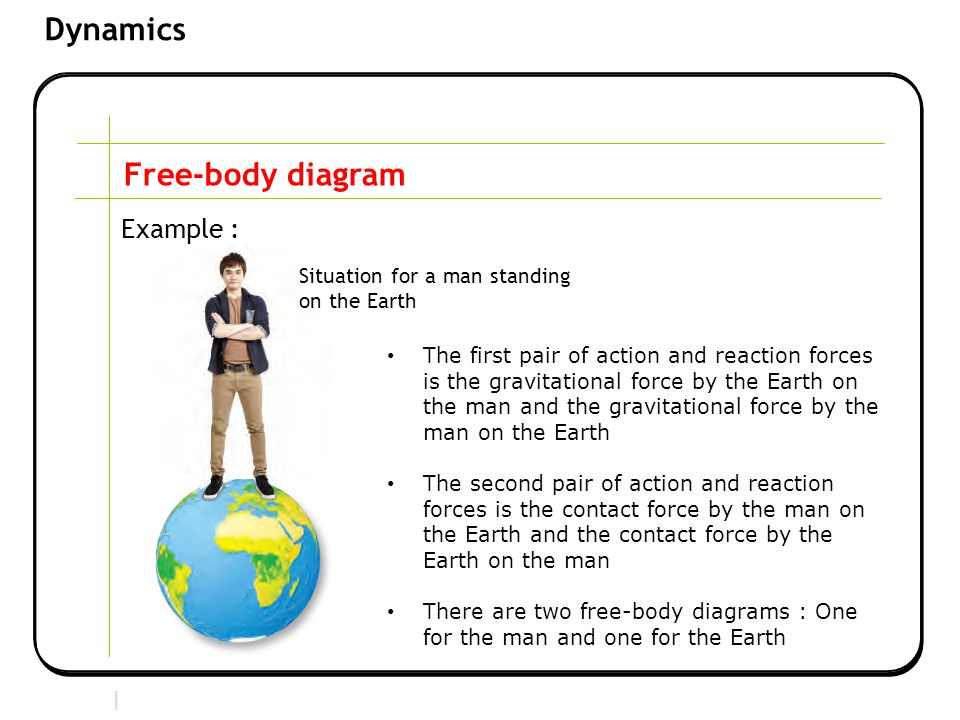 Section 2 | Newtonian Mechanics Dynamics Free-body diagram Example : The first pair of action and reaction forces is the gravitational force by the Earth on the man and the gravitational force by the man on the Earth The second pair of action and reaction forces is the contact force by the man on the Earth and the contact force by the Earth on the man There are two free-body diagrams : One for the man and one for the Earth Situation for a man standing on the Earth