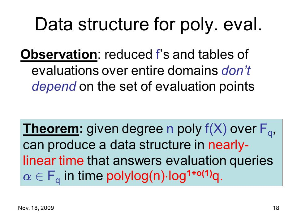Data structure for poly. eval. Observation: reduced f's and tables of evaluations over entire domains don't depend on the set of evaluation points Nov
