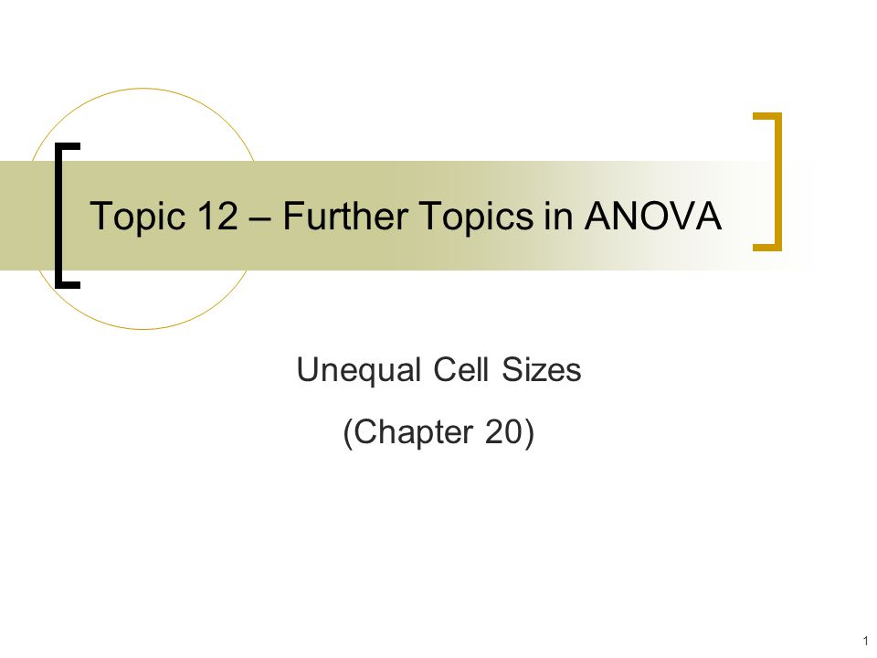 32 Unbalanced Two-Way ANOVA Unequal Cell Sizes (Chapter 20 – skim only)