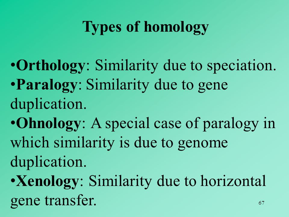 67 Types of homology Orthology: Similarity due to speciation. Paralogy: Similarity due to gene duplication. Ohnology: A special case of paralogy in wh