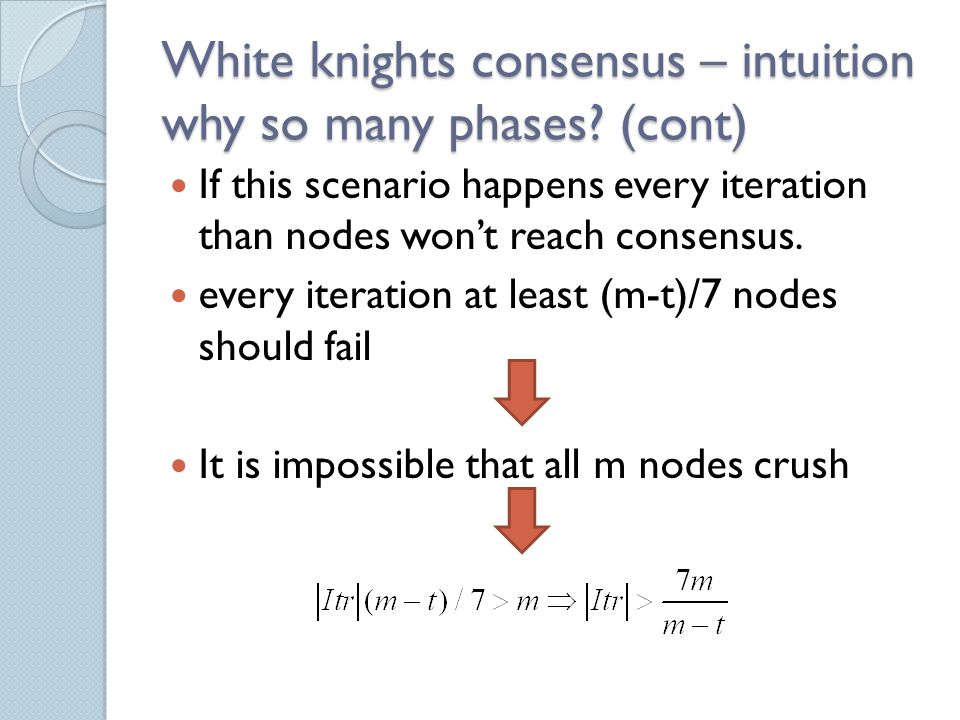 White knights consensus – intuition why so many phases.