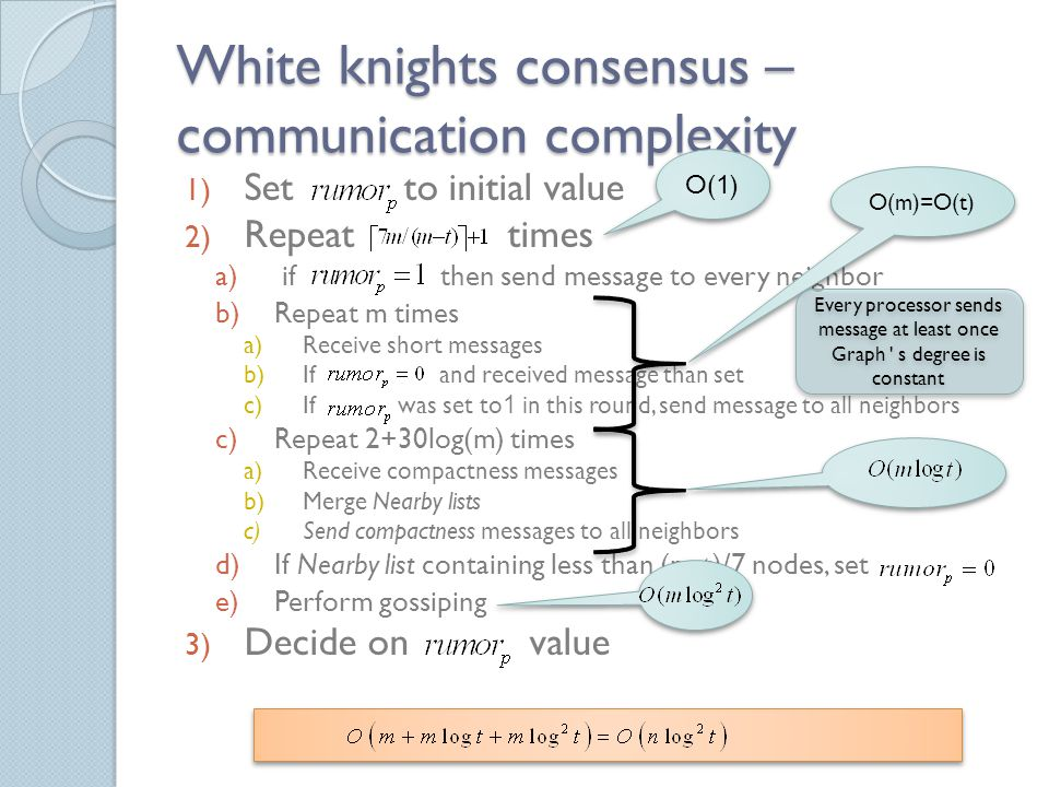 White knights consensus – communication complexity 1) Set to initial value 2) Repeat times a) if then send message to every neighbor b)Repeat m times a)Receive short messages b)If and received message than set c)If was set to1 in this round, send message to all neighbors c)Repeat 2+30log(m) times a)Receive compactness messages b)Merge Nearby lists c)Send compactness messages to all neighbors d)If Nearby list containing less than (m-t)/7 nodes, set e)Perform gossiping 3) Decide on value O(1) O(m)=O(t) Every processor sends message at least once Graph s degree is constant Every processor sends message at least once Graph s degree is constant