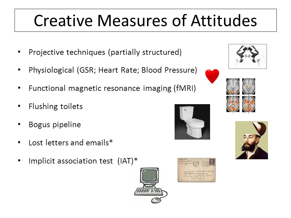 Creative Measures of Attitudes Projective techniques (partially structured) Physiological (GSR; Heart Rate; Blood Pressure) Functional magnetic resonance imaging (fMRI) Flushing toilets Bogus pipeline Lost letters and emails* Implicit association test (IAT)*